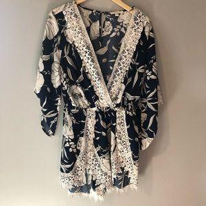 Pants - Navy and white crochet romper